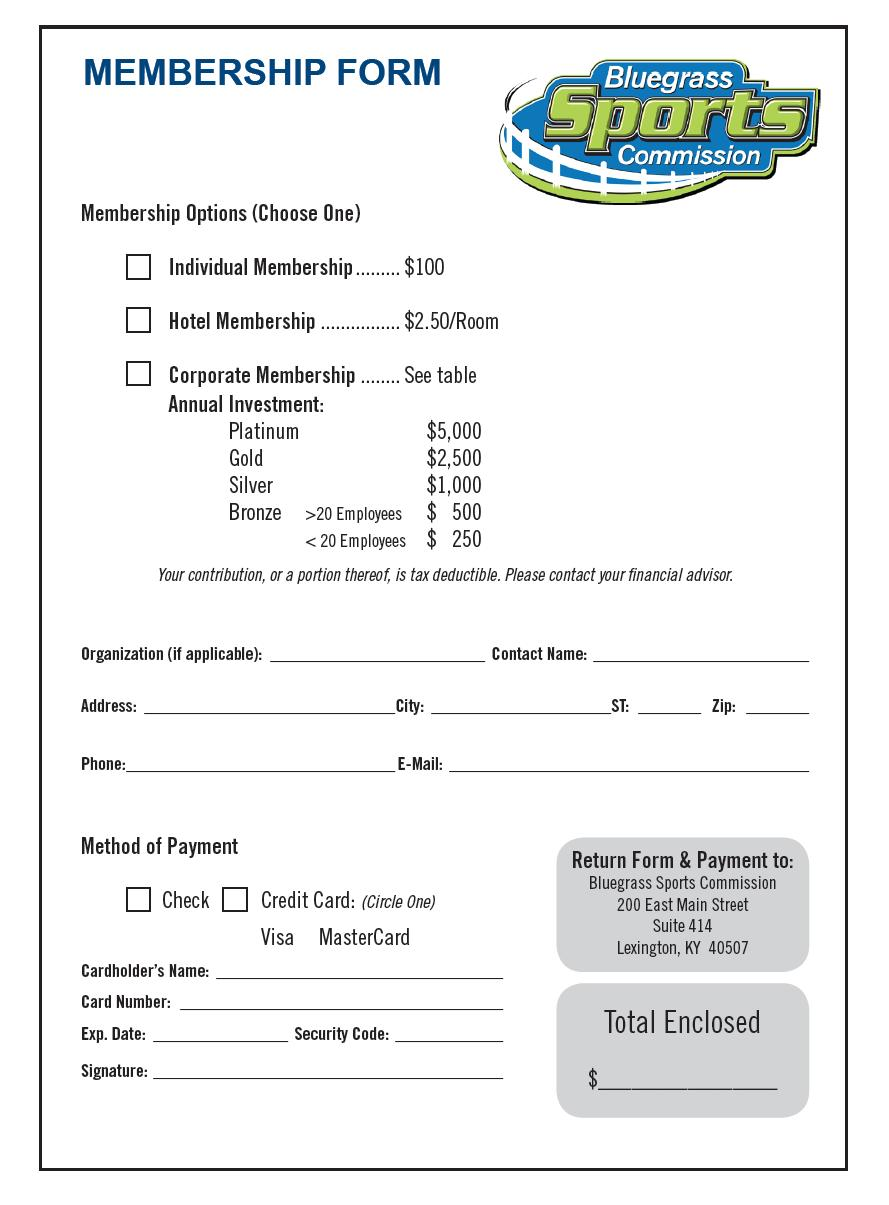 Bluegrass Sports Commission – Membership Invoice Template